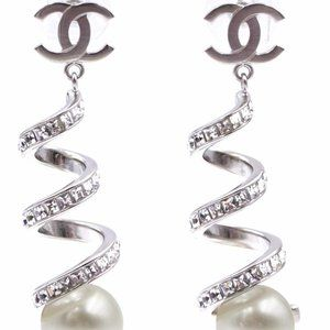 Chanel Cc Spiral Crystals Pearl Drop Earrings